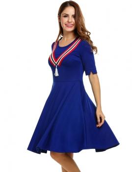 Blue Women Half Sleeve Plain O Neck Pullover Color Block Casual Dresses, Multicolor