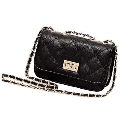 c2022c87c9 Black Cute Quilted Twist Crossbody Bag