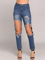 Vysoký pas Velké díry Zoufalé kalhotové kalhoty Jeans e0ed299a20