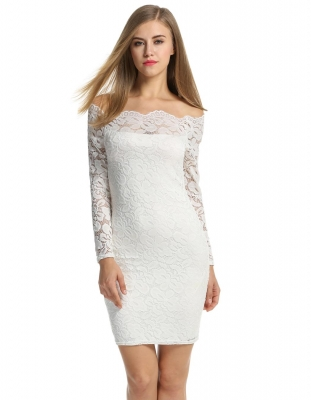 d19c703a2925 White Off-shoulder Long Sleeve Floral Package Hip Going Out Dress