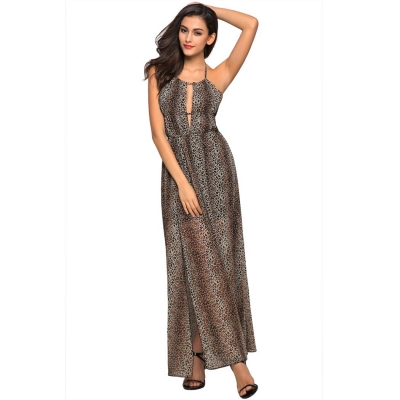 Angvns Black Sexy Ladies Women Sleeveless Halter Hollow Backless Side Split  Party Banquet Maxi Chiffon Casual Dresses 437032371