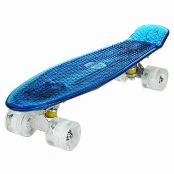 ANCHEER 22''Cruiser Crystal Clear Board LED Light Up Wheels Deck Skateboard, Multicolor
