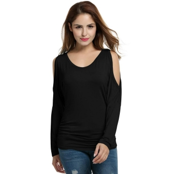 Black Women Casual Cold Shoulder Long Batwing Sleeve Solid Tank Tops T-Shirts, Multicolor