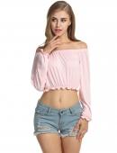 e09facb9dff805 Pink Slash Neck Off the Shoulder Long Sleeve Slim Fit Crop Tops