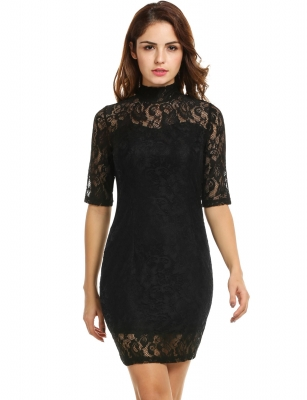 Black Women Casual Half Out Dresses Cndirect