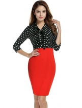 Women 3 4 Sleeve V-Neck Pencil Dress Dot Patchwork Package Hip Slim Party 6580f72ae