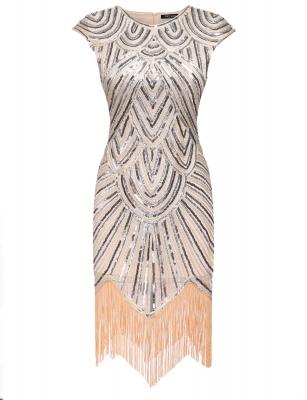 Women Art Deco Tel 1920s Style Party Wedding Slim Gatsby O Neck Fler Dress