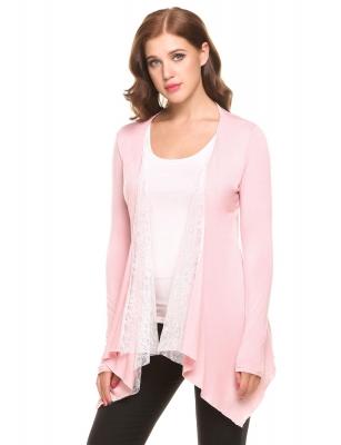 e51210f8675 Pink Open Front Long Sleeve Irregular Hem Lace Patchwork Cardigans