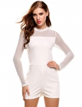 ddf936367709 White Stand Collar Long Sleeve Net Patchwork Hollow Out Elastic Slim Rompers