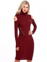 Červená vína Ženy rolák Cold Shoulder s dlouhým rukávem Zip Bodycon svetr  šaty 15ffbe1c7b