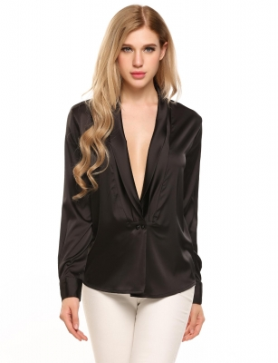 d1e27eb763 Black Long Sleeve Loose Deep V-Neck Silk-Satin Shirt