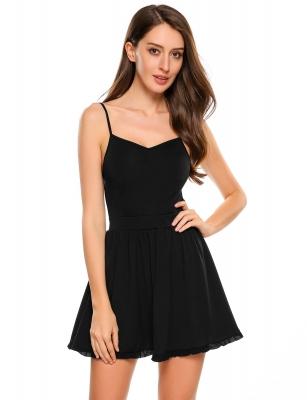 Black Spaghetti Straps Solid Skater Dress Cndirect