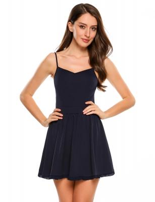Dark Blue Spaghetti Straps Skater Dress Cndirect