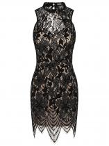 Černá Women Sexy Sleeveless Backless Slim Floral Lace Dress with Lining aa955f1d5e