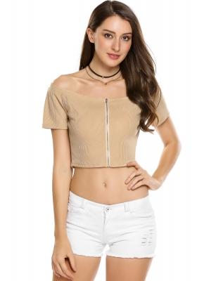 7730dc0bcf Nude Slash Neck Off the Shoulder Short Sleeve Solid Zipper Crop Tops