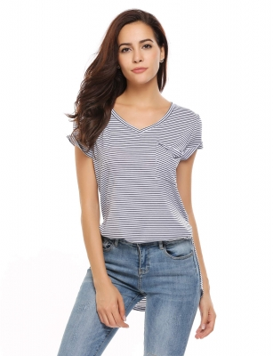 634f62eb19ac White and Blue Stripes Short Sleeve V Neck Loose Pocket Side Slit T-Shirt