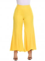 5ecb5563daf25 Yellow High Waist Solid Asymmetrical Wide Leg Pants