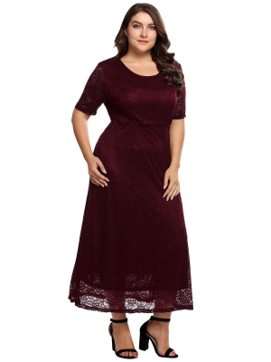 Wine red Plus Size Evening Dress  14bc93514d12