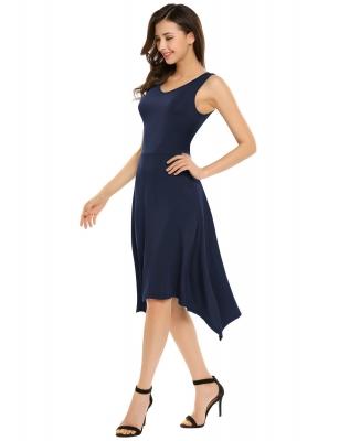 f082b0be273 Námořnická modrá Dámské příležitostné O-Neck bez rukávů Solid A-Line  plisované asymetrické šaty Hem