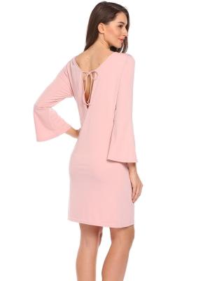 Pastelově růžová Ženy Flare rukáv Solid O krk Back krajka-up Bodycon tužka  šaty a7397fa2e4