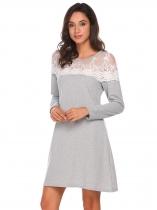b77bc338c15 Světle šedá Dámské krajky Patchwork dlouhý rukáv A-Line příležitostné krátké  šaty