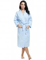 a001db01e الأزرق النساء الرجال عارضة طويلة الأكمام القطن الهراء البشكير النوم رداء ملابس  داخلية ومنامة