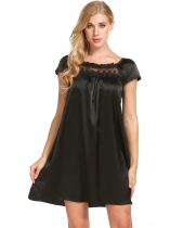 Black Women Short Sleeve Embroidery Loose Satin Nightgown Sleepwear f850b566a