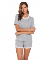 fdba4bf87fb Grey V-Neck Short Sleeve Lace-trimmed Tops with Elastic Waist Shorts Pjs  Sets
