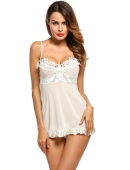 4398c49d057 White Women Lingerie Dress Babydoll V-Neck Lace Ruffle Nightwear with G-string  Sexy