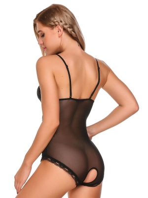 Black Backless Lace Mesh Open Crotch One Piece Lingerie