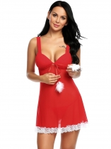 Women Sexy Lingerie Christmas Padded Sheer Babydoll with G-string 7ce50098a5