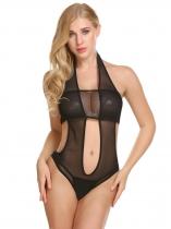 Black Mujeres sexy lencería halter sin espalda corte de malla pura mono una  pieza 634c65b51e0d