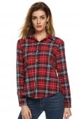 cb7a68376f White red Buttoned Cotton Lapel Plaids Checks Flannel Shirts