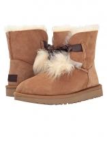 Brown Suede Pom-Pom Ankle Length Gita Snow Boots 9519c0892a332
